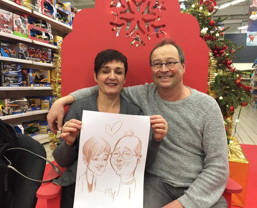 Caricatures de Noel au Super U de Fontenay le comte