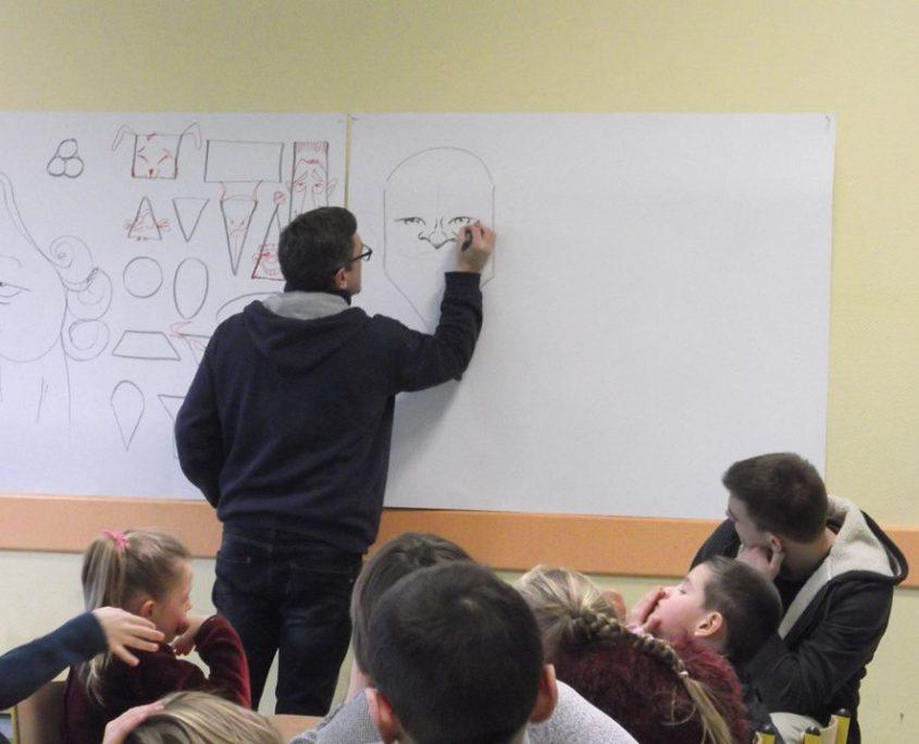 tableau, dessin, élèves