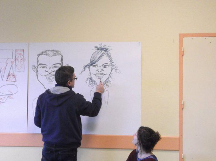 tableau, noir et blanc, dessin, classe, élèves
