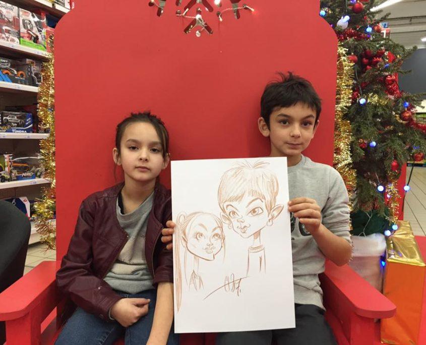 caricature de Noel au Super U de Fontenay le comte