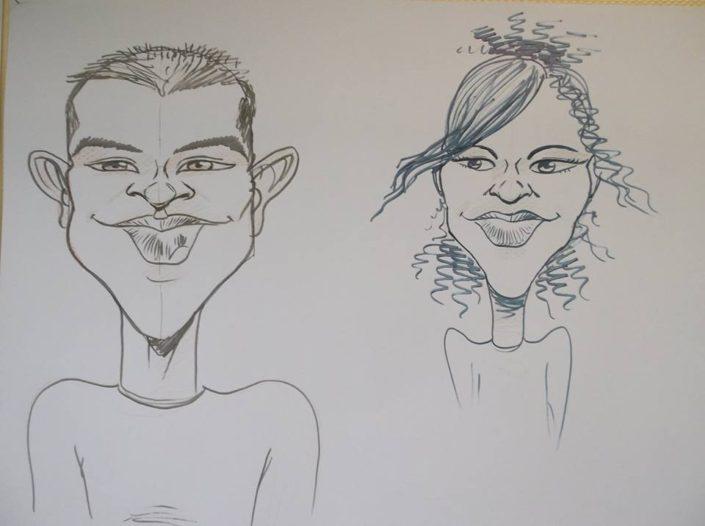caricatures, dessin, traditionnelle, monochrome